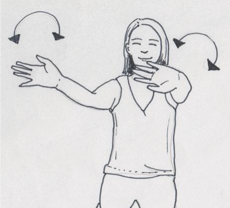 Zeichnung Yoga im Sitzen, hir das Auwärmen mittels Gelenkkreise der Handgelenke, eine wunderbare Möglichkeit, um Gelenkschmiere zu produzieren