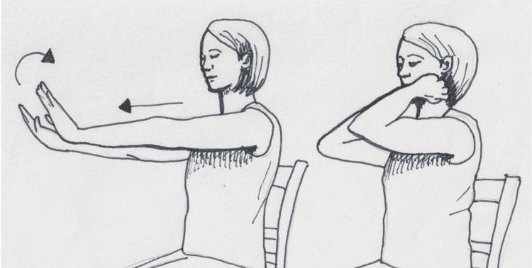 Zeichnung Yoga im Sitzen, hir das Auwärmen mittels Gelenkkreise der Arme, eine wunderbare Möglichkeit, um Gelenkschmiere zu produzieren