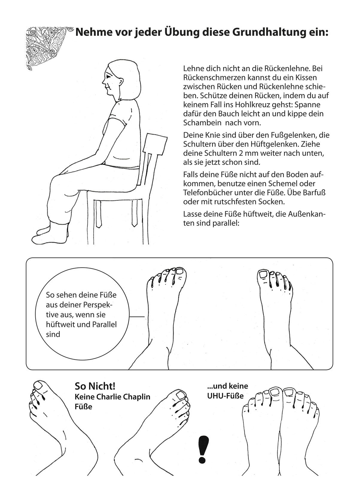 """Auszug aus dem Übungsheft """"Yoga auf und mit dem Stuhl"""" von Michelle Laise mit Zeichnungen zur Grundhaltung beim Yoga im Sitzen (Füße)"""