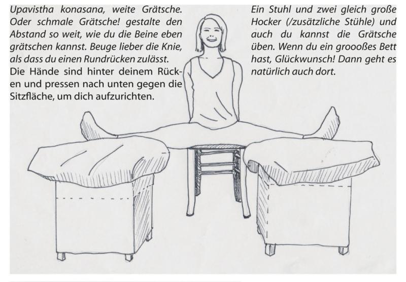 """Yoga auf Stühlen: 3 um genau zu sein, um die Haltung """"Weite Grätsche"""" zu ermöglichen"""