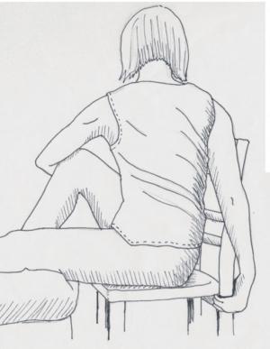 Yoga Drehsitz für das Üben auf dem Stuhl: Rückansicht