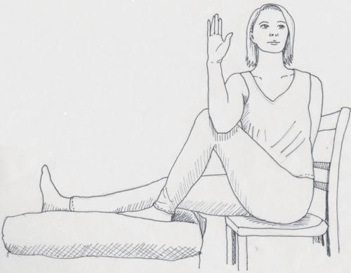 Ardha Matsyendrasana für das Yoga im Sitzen, mit 2 Stühlen