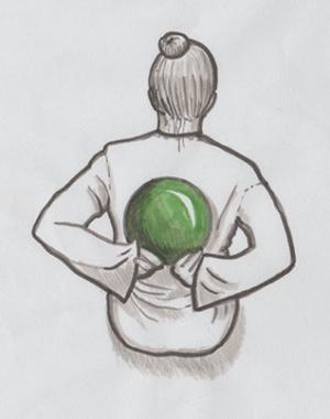 Fasziale selbstmassage, Großflächige Behandlung des oberen Rückens mit Ball