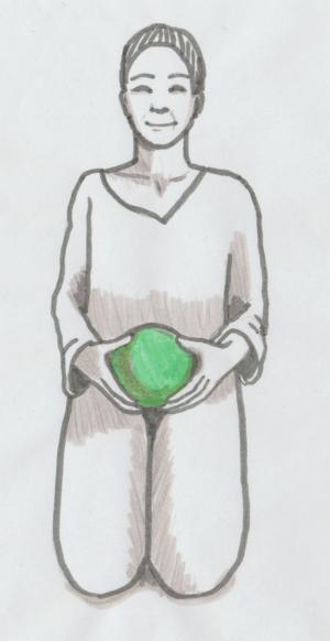 Mit einem großen Spielball, zu 4/5 aufgeblasen, lässt sich wirkungsvoll faszial massieren