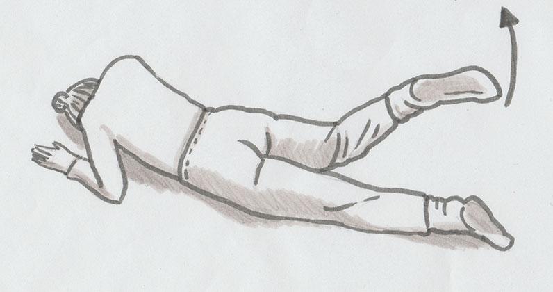 Fasziale Selbstmassage des Abdomens mit Ball und der Schraubtechnik + Hüftbewegung
