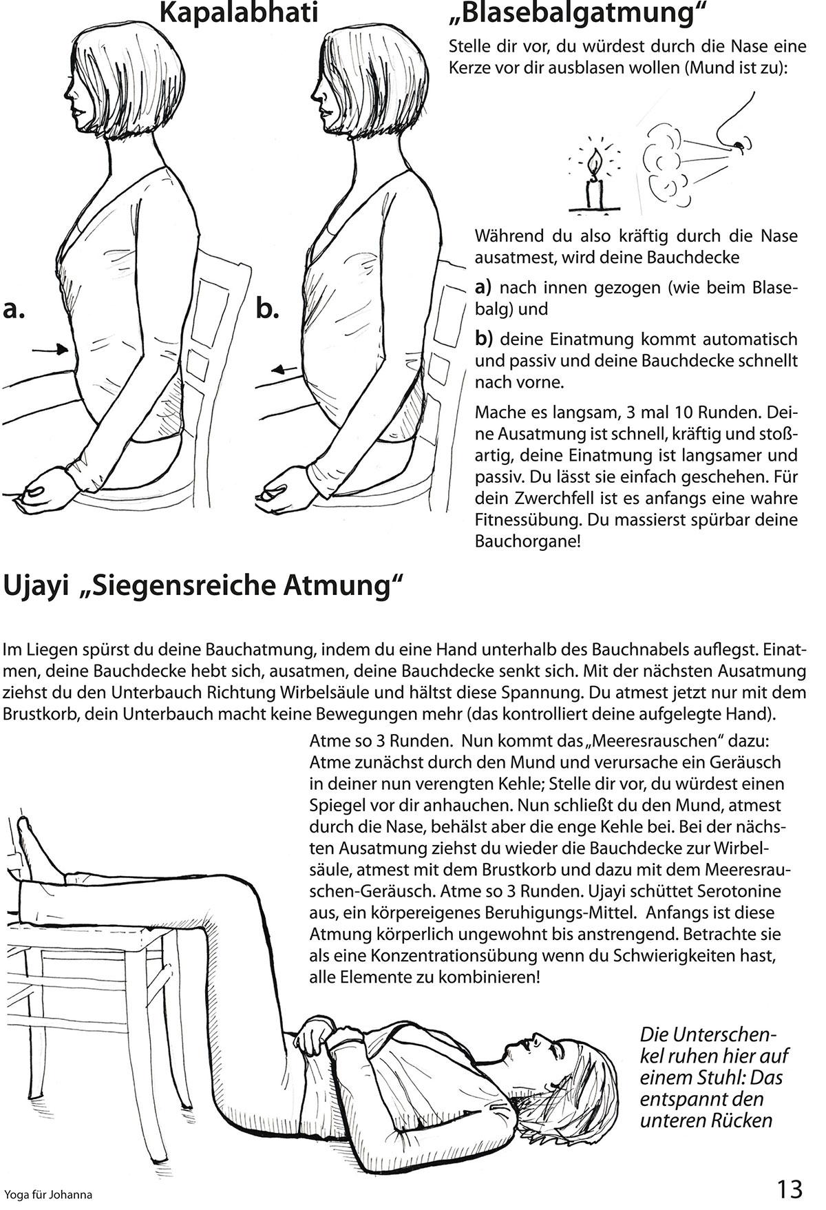 """Auszug aus dem Übungsheft """"Yoga für Johanna"""" von Michelle Laise mit Übungsbeschreibungen für Kapalabhati und Ujayi"""