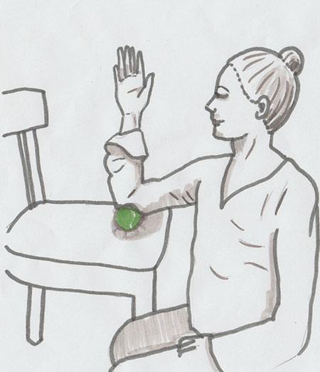Gezeichnete Anleitung zur faszialen Selbstmassage des Ellenbogens und Oberarms