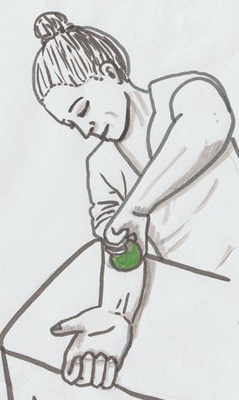 Gezeichnete Anleitung zur faszialen Selbstmassage mit einem Tennisball für den Unterarm