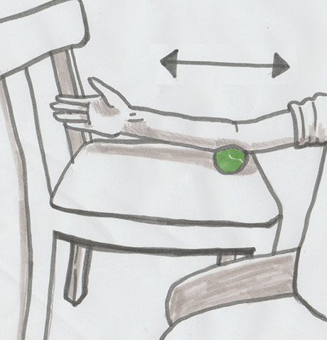 Gezeichnete Anleitung zur faszialen Selbstmassage des Arms