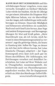 Artikel im Magazin Spiegel Wissen über Michelle Laise und ihr Herzensprojekt Trotzallembewegend zum Thema Bewegung für chronisch Kranke