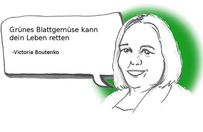 Zeichnung von Victoria Boutenko, der Rohkostpionierin, der Botschafterin von Essen als Medizin