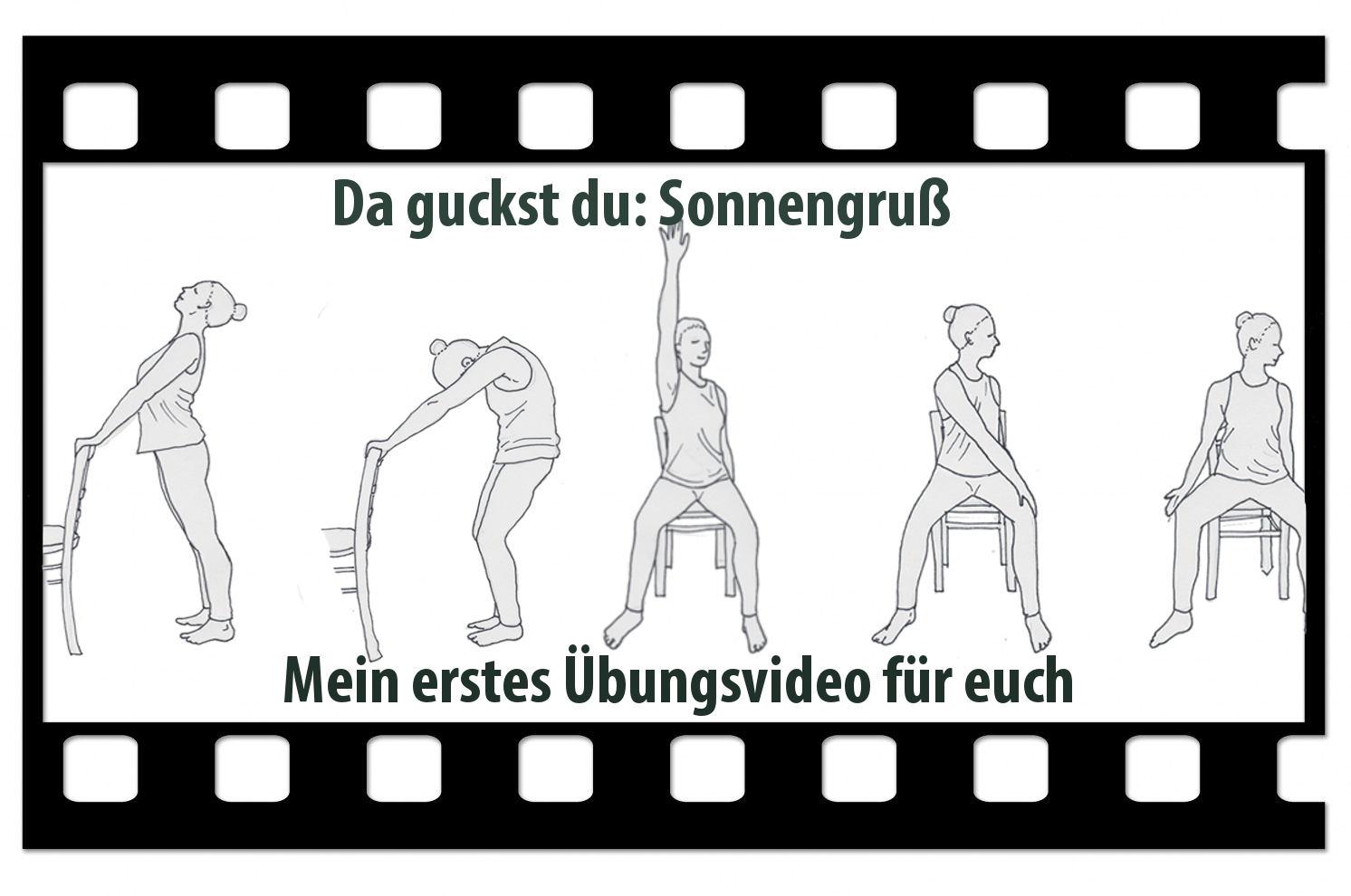 Videologo von Trotzallembewegend mit gezeichneten Yogahaltungen auf und am Stuhl. Titel: Sonnengruß. Mein erstes Übungsvideo für euch