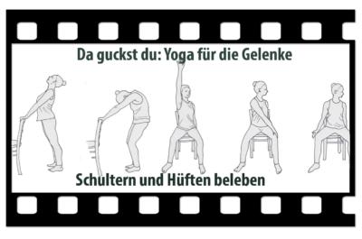 Videologo von trotzallembwegend, geziert von gezeichneten Yogahaltungen am und auf dem Stuhl. Titel: Yoga für die Gelenke. Schultern und Hüften beleben.