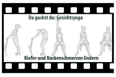 Videologo von Trotzallembewegend mit gezeichneten Yogahaltungen am und auf dem Stuhl. Titel des Videos: Gesichtsyoga: Kiefer-und Nackenschmerzen lindern