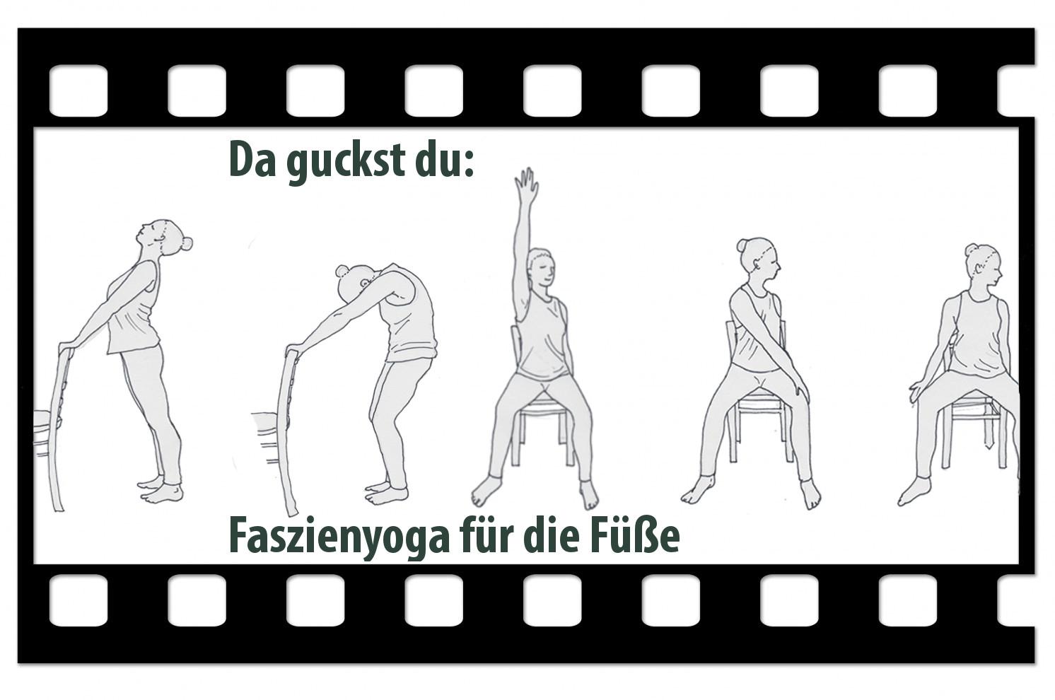 """Videologo von Trotzallembewegend mit Zeichnungen von Yogahaltungen im Sitzen und dem Titel """"Da guckst du: Faszienyoga für die Füße"""""""