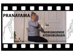 Michelle Laise von Trotzallembewegend zeigt Atemyoga (Pranayama). Es weist auf eine Videoanleitung mit beruhigenden Atemübungen hin.