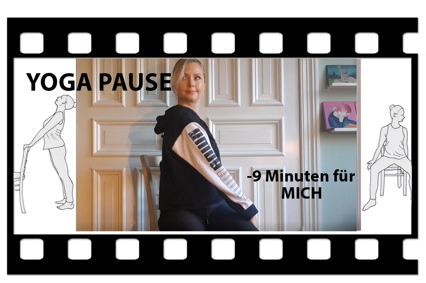 """Michelle Laise sitzt in der Yogahaltung Drehsitz auf dem Stuhl. Der Titel """"Yogapause: 9 Minuten für mich"""" und das Videosymbol zeigen, dass es hier zur Videoanleitung geht."""
